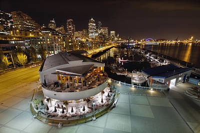 Poster featuring the photograph Seattle City Skyline And Marina At Night by JPLDesigns