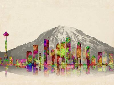 Seattle City Skyline Poster