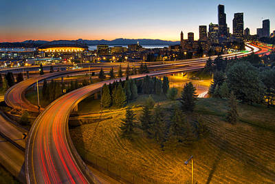 Poster featuring the photograph Seattle Downtown Highway Traffic Light Trails by JPLDesigns