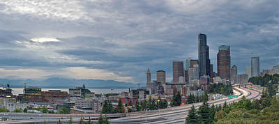 Poster featuring the photograph Seattle Downtown Skyline And Freeway Panorama by JPLDesigns