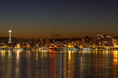 Poster featuring the photograph Seattle Downtown Skyline Reflection At Dawn by JPLDesigns