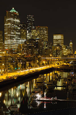 Poster featuring the photograph Seattle Downtown Waterfront Skyline At Night by JPLDesigns