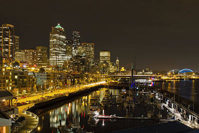 Poster featuring the photograph Seattle Downtown Waterfront Skyline At Night Reflection by JPLDesigns