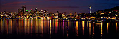 Seattle Night Reflections Poster