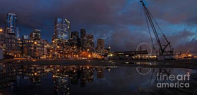 Seattle Night Skyline Poster by Mike Reid