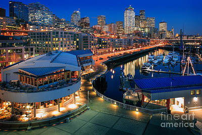 Seattle Piers At Night Poster by Inge Johnsson