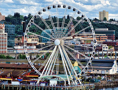 Seattle Port Ferris Wheel Poster by Gena Weiser