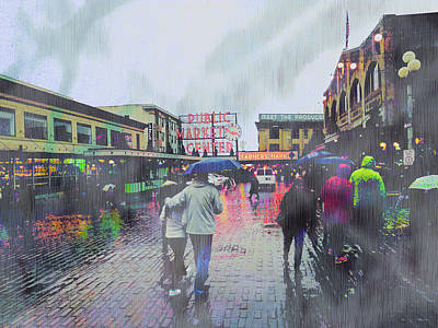 Seattle Public Market In Rain Poster by John Fish