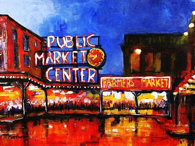 Seattle Public Market Poster by Marti Green