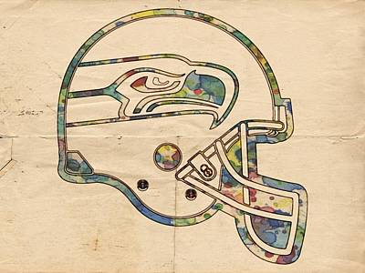 Seattle Seahawks Helmet Art Poster by Florian Rodarte