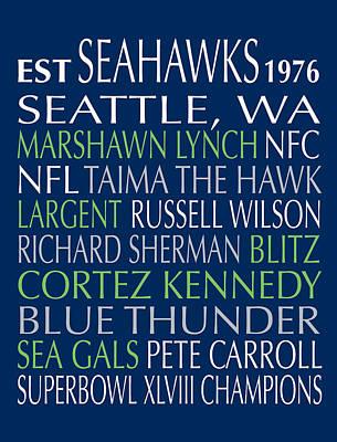 Seattle Seahawks Poster by Jaime Friedman