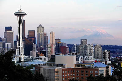 Seattle Skyline Afternoon Poster by Jack Nevitt