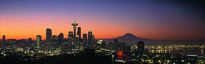 Seattle Skyline At Dawn Poster