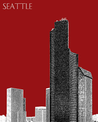 Seattle Skyline Columbia Tower - Dark Red Poster