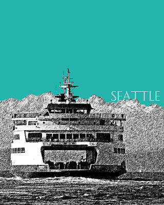 Seattle Skyline Ferry - Teal Poster