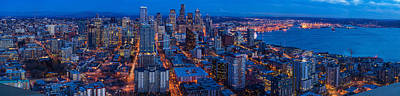 Seattle Skyline From The Space Needle Poster by Mike Reid
