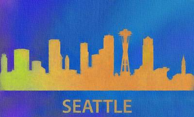Seattle Skyline In Color Poster