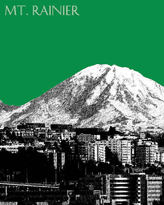Seattle Skyline Mt. Rainier - Forest Green Poster