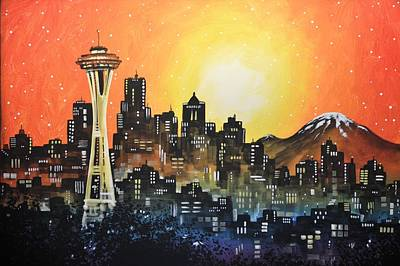 Poster featuring the painting Seattle Sunset by Amy Giacomelli