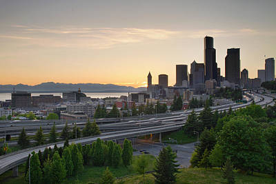 Poster featuring the photograph Seattle Washington Downtown City Sunset by JPLDesigns