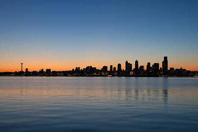 Poster featuring the photograph Seattle Washington Waterfront Skyline At Sunrise Panorama by JPLDesigns