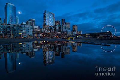 Seattle Waterfront Reflection Poster