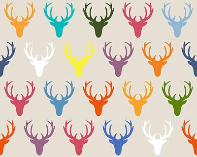 Seaview Simple Deer Heads Poster by Sharon Turner