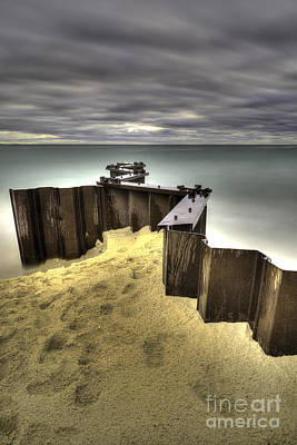 Seawall In Lake Michigan Poster by Twenty Two North Photography