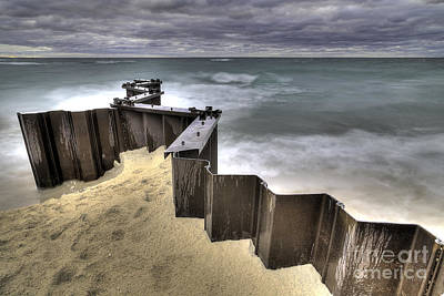 Seawall On Lake Michigan Poster by Twenty Two North Photography