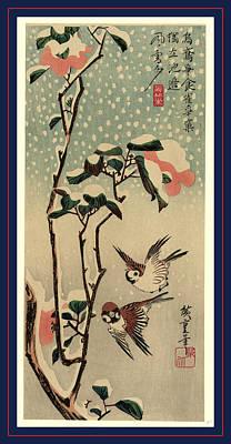 Secchu Tsubaki  Ni Suzume Poster by Utagawa Hiroshige Also And? Hiroshige (1797-1858), Japanese