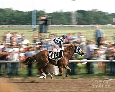 Secretariat Race Horse Winning At Arlington In 1973. Poster