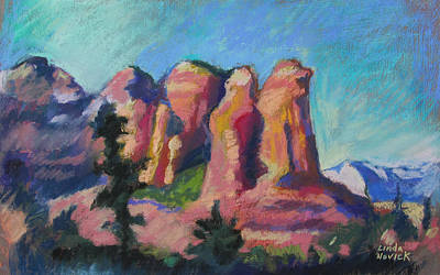 Poster featuring the painting Sedona Peaks by Linda Novick