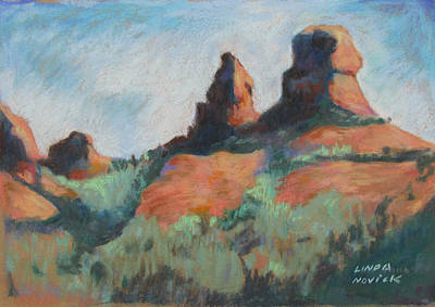 Poster featuring the painting Sedona Sisters by Linda Novick