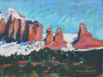 Poster featuring the painting Sedona Snowfall by Linda Novick