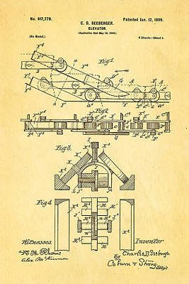 Seeberger Escalator Patent Art 1899 Poster by Ian Monk