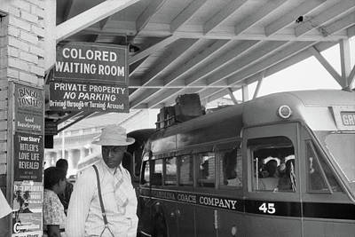 Segregated Bus Stop, 1940 Poster