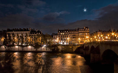 Seine River At Night Poster