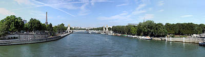 Seine River With Eiffel Tower Poster by Panoramic Images