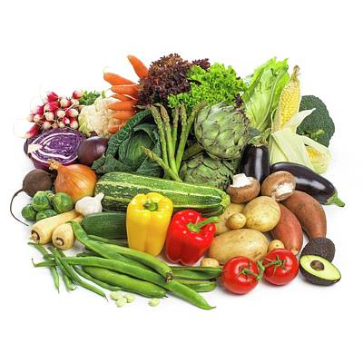 Selection Of Fresh Fruit And Vegetables Poster by Science Photo Library