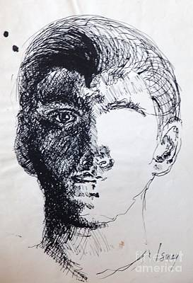 Poster featuring the drawing Self Portrait At 21 by Rod Ismay
