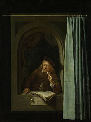 Self Portrait Oil On Panel Poster by Gerrit or Gerard Dou