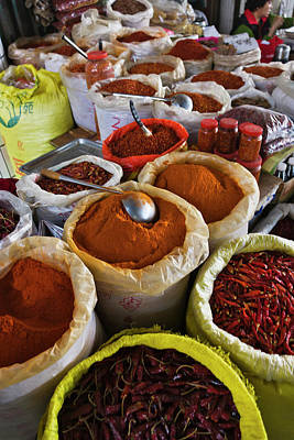 Selling Spices At The Market, Guilin Poster by Keren Su