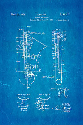 Selmer Saxophone Patent Art 1939 Blueprint Poster by Ian Monk