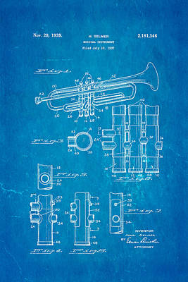 Selmer Trumpet Patent Art 1939 Blueprint Poster by Ian Monk