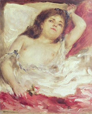 Semi-nude Woman In Bed The Rose Poster by Pierre Auguste Renoir