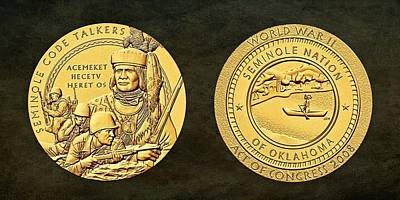 Seminole Nation Code Talkers Bronze Medal Art Poster by Movie Poster Prints