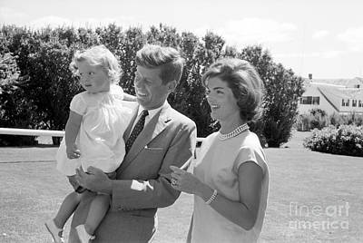 Senator John F. Kennedy With Jacqueline And Caroline Poster