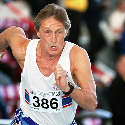 Senior British Masters Athlete Running Poster by Alex Rotas