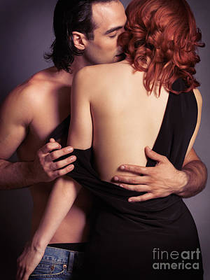 Sensual Couple Portrait Of Man Kissing Woman Poster