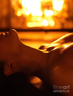 Sensual Photo Of Naked Woman In Front Of Fireplace Poster